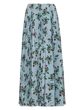 Floral print mid-length skirt BLUE