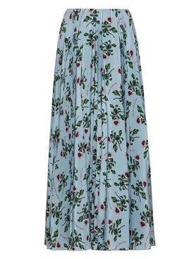 Valentino - Floral Print Mid-length Skirt Blue - Women