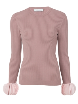 embroidered stretch sweater PINK
