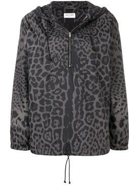 leopard print hooded bomber