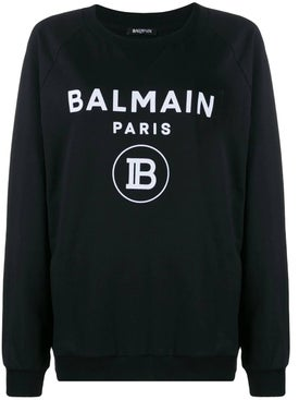 Balmain - Black And White Logo Print Sweatshirt - Women