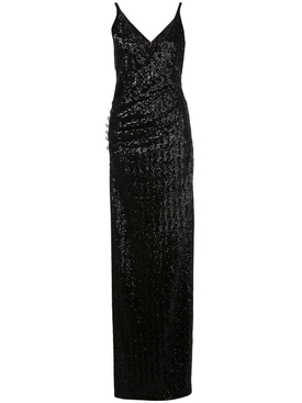 sequined side slit gown black