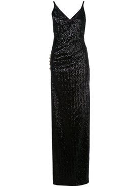 Balmain - Sequined Side Slit Gown Black - Women