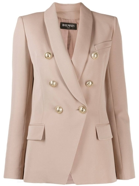 Double-breasted wool blazer NUDE