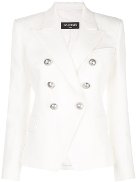 Six Button Blazer Natural White