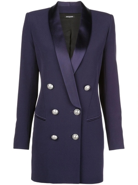 satin trim blazer dress PURPLE