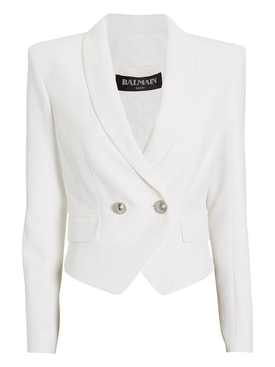 cropped double-breasted blazer WHITE