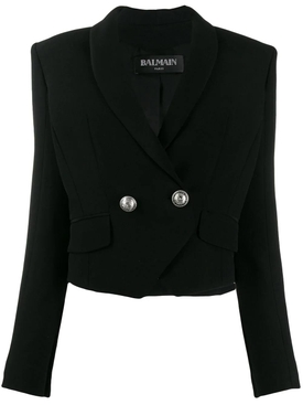 cropped double-breasted blazer BLACK