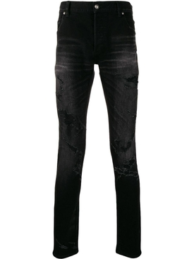 distressed slim-fit jeans black