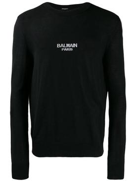 wool logo sweater BLACK