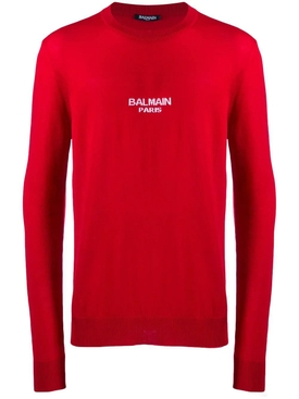 wool logo sweater RED