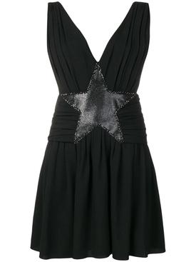 star appliqué mini dress