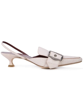 buckled slingback mules