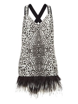 Proenza Schouler - Feather Trim Leopard Mini Dress - Women