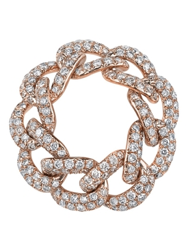 18k gold Essential pave diamond link ring