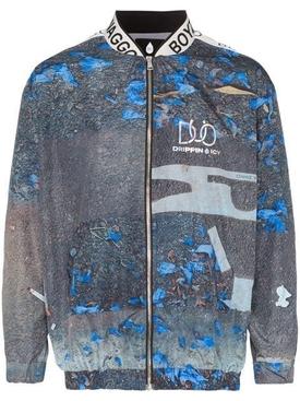 logo band print bomber jacket MULTICOLOR