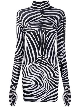 Long-sleeve zebra print dress