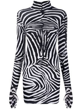Vetements - Long-sleeve Zebra Print Dress - Women