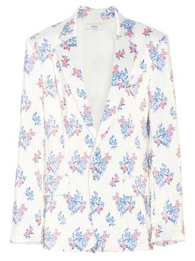 White floral print oversize blazer