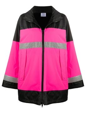 Neon pink reflector parka