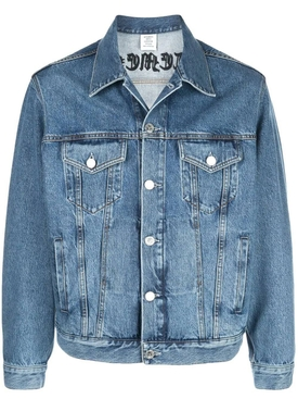 Gothic logo embroidered denim jacket