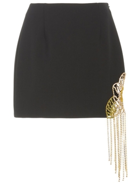 BLACK CRYSTAL FLOWER MINI SKIRT