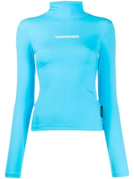 Vetements - Turquoise Turtleneck Logo Top - Women