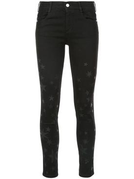 star print skinny jeans BLACK