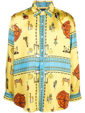 Lost Daze - Multicolored Print Silk Shirt - Men