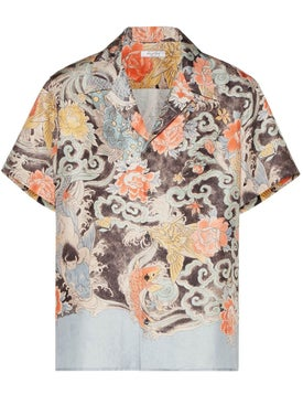 Valentino - Short-sleeve Silk Shirt With Water Garden Print - Men