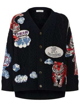 Valentino - Tiger Embroidered Cardigan - Cardigans