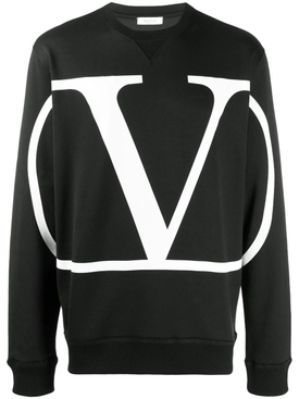 V Logo sweatshirt BLACK