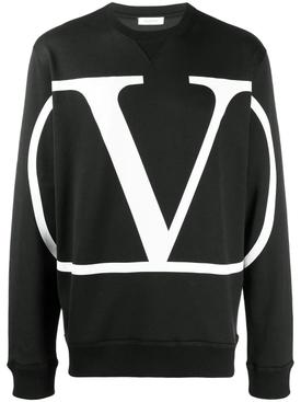 V Logo sweatshirt BLACK
