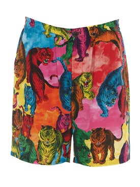 Valentino - Saturated Tiger Print Crepe Shorts - Men