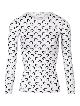 SECOND SKIN MOON TOP, WHITE AND BLACK PRINT