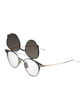 Thom Browne x Dita Black iron and gold round sunglasses