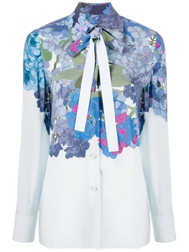 Valentino - Blue Floral Pussy Bow Blouse - Women