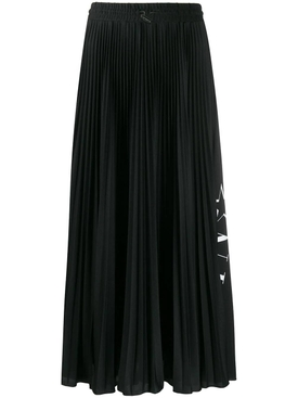 Black and white pleated midi skirt