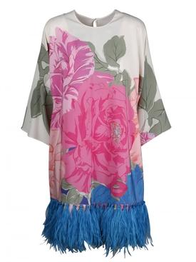 Floral feather trim dress