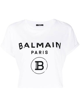 Balmain - Cropped Logo T-shirt White - Women
