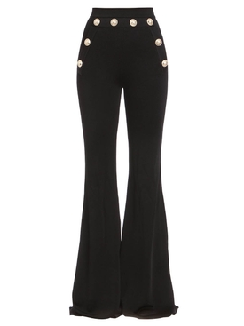 BUTTON-EMBELLISHED FLARED PANTS BLACK