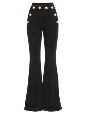 Balmain - Button-embellished Flared Pants Black - Women