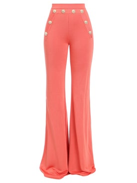 Balmain - Button-embellished Flared Pants Orange - Women