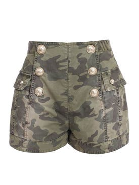 Balmain - High Waist Camouflage Shorts - Women