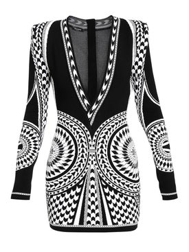 Balmain - Mini Geometric Jacquard Dress - Women