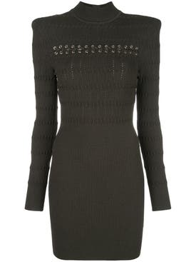 Balmain - Lace-up Long Sleeved Dress - Women