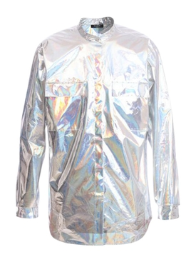 Silver Oversize Holographic Shirt