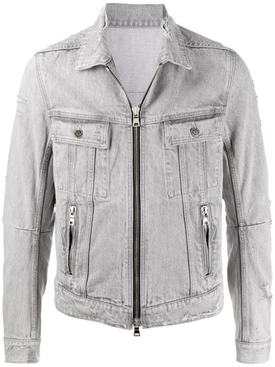 Grey Distressed Denim Jacket