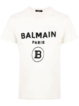 Balmain - Contrasting Logo Cotton T-shirt White - Men