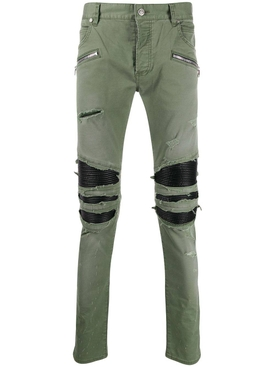 Distressed khaki green pants